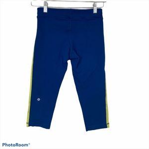 Lululemon Blue Green Side Striped Capris Leggings